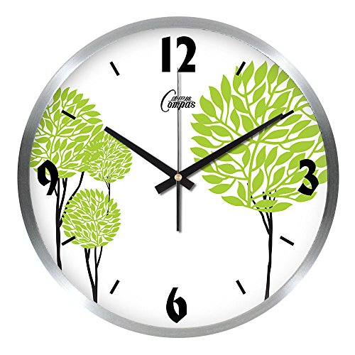 (TNKML Large Indoor Decorative Wall Clock Creative Clock Big Wall Clock Quartz Clock Wall Chart Classic Living Room Kitchen Metal Bedroom Super Rustic Mute, 16 inches, Silver)