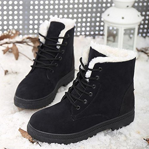 Anxinke Womens Flat Lace-up Snow Boot Winter Warm Ankle Boots with Faux Fur Black