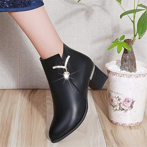 Boots Boots Boots Strass Zip Autunno Inverno Elegance da da da Chunky Heel YUCH Bare Scarpe Black Donna Side 7qfWPWzXnA
