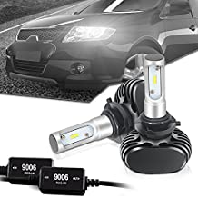 9006 LED Headlight bulb CANBUS Error Free 8000LM 6000K-6500K Cool White All In One Conversion Kit CSP Chips Driving Fog Light Bulbs Replacement for HID or Halogen - 1 Year Warranty