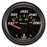 Equus 6262 2'' Electrical Water Temperature Gauge, Black