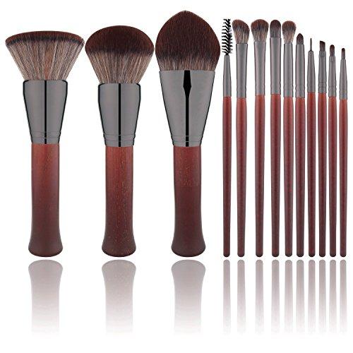 BS-MALL Premium Red Wooden 13 Pcs Makeup Brush Set