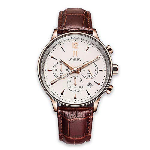 JIN DI Long JJ Mens Luxury Wrist Watch with Leather Band, Chronograph Waterproof Watches with Japanese Quartz Movement Best Gift for Men/Dad
