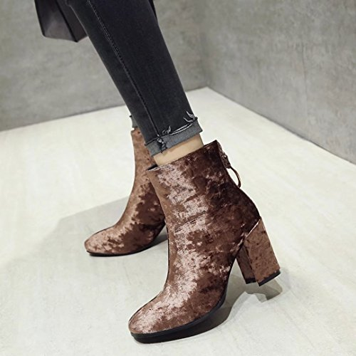 AIYOUMEI Womens Suede Back Zipper Bootie Block Heel Autumn Winter Ankle Boots Brown DDT4I