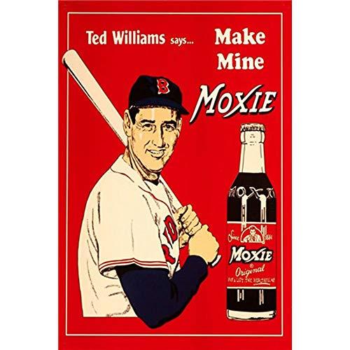 FlowerBeads Tin Bar Signs Baseball Wall Poster, 12X8 Retro Pub Coffee Shop Hot Rod Man Cave Decor - Ted Williams Make Mine Moxie 20X30Cm