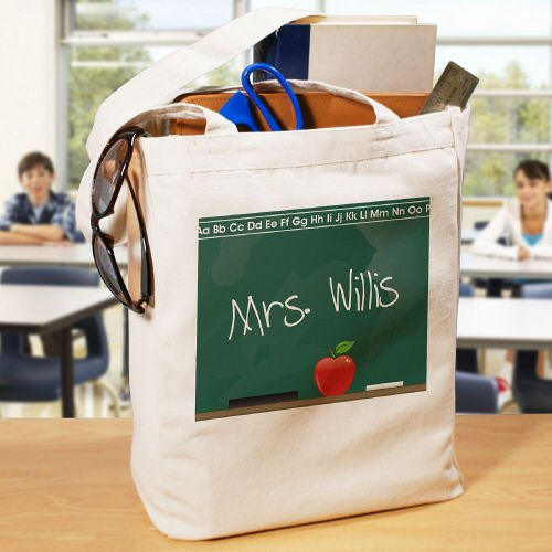 Personalized Teacher Canvas Tote Bag Chalkboard Design, Cotton, 16
