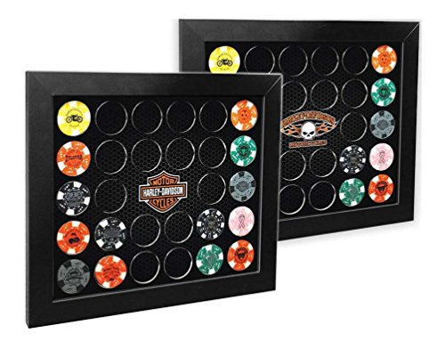(Harley-Davidson Poker Chip Collectors Frame, Holds 26 Chips, Made in USA 6925)