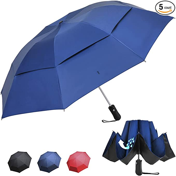 Rain and Windproof Folding Inside Out Umbrella StrombergBrand Color Flip Umbrella Small Two Tone Umbrella Black and Green Umbrella Automatic Reverse Umbrella Inverted Umbrella For Men and Women