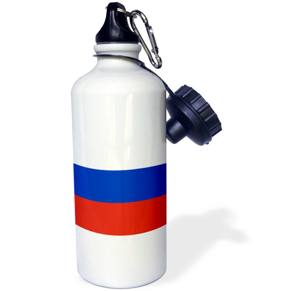 3dRose wb_158418_1 ''Flag of Russia-Russian white blue red horizontal stripe tricolor-Eurasia world country souvenir'' Sports Water Bottle, 21 oz, White