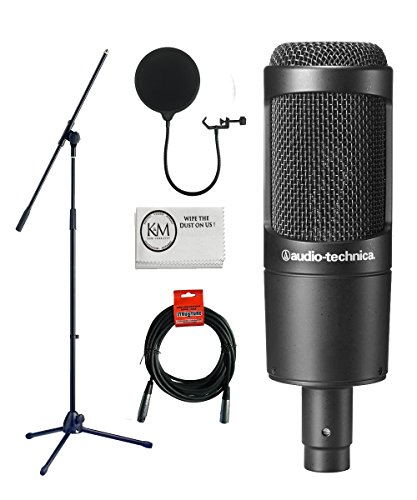 Audio-Technica AT2035 Cardioid Condenser Microphone Bundle with Boom Stand, Pop Filter, XLR Cable, and Austin Bazaar Polishing Cloth ()