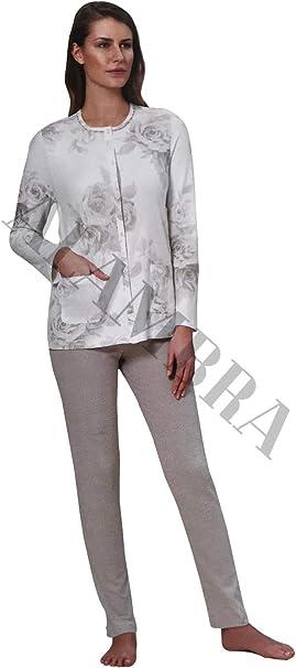 Pigiama lungo donna caldo cotone Aperto davanti tasche Pizzo Linclalor 92017