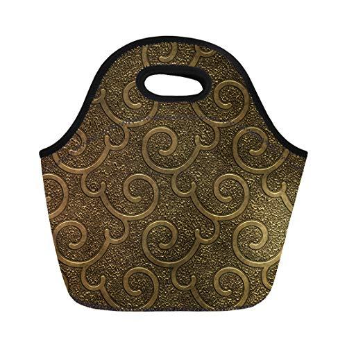 Semtomn Lunch Bags Carved Black Gold Metal Pattern 3D Silver Antique Closeup Neoprene Lunch Bag Lunchbox Tote Bag Portable Picnic Bag Cooler Bag