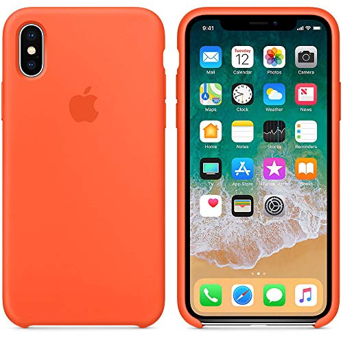 Design Silicone New (Silicone Case for iPhone X New Model Fashioned Design and Simple (Spicy Orange))