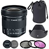 Canon EF-S 10-18mm f/4.5-5.6 IS STM Lens Bundle with Neoprene Case + Tulip Lens Hood + 3 Piece Filter Kit (Premier Lens Kit)