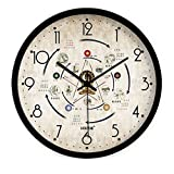 ZRDMN Wall clock Creative five seasons Health care Traditional Chinese medicine decoration living room mute clock Chinese quartz charts, 16 inches, metal black border Wall clock