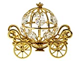 Medium Pumpkin Coach 24k Gold Plated Metal Tabletop Figurine with Clear Spectra Crystals by Swarovski