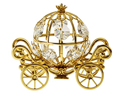 (Medium Pumpkin Coach 24k Gold Plated Metal Tabletop Figurine with Clear Spectra Crystals by Swarovski)