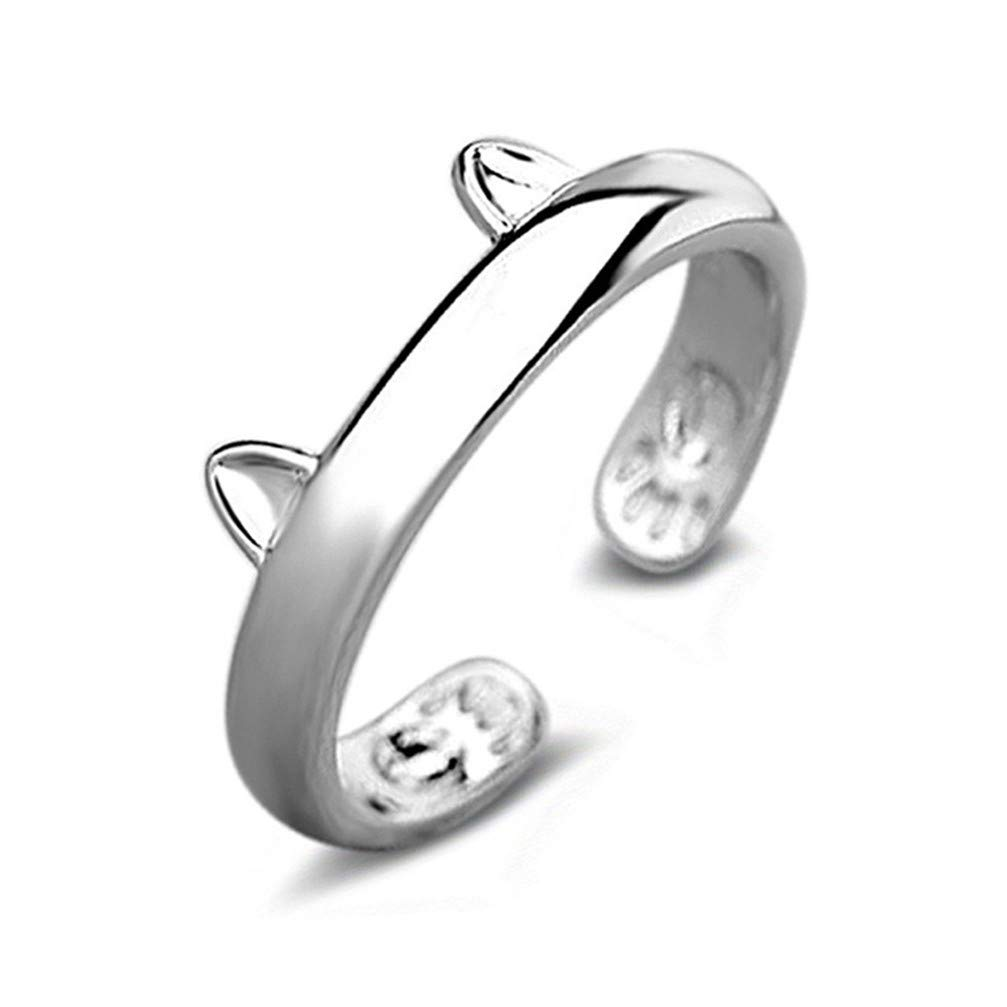 Myhouse Creative Cute Cat Ear Shape Openings Rings Simple Jewelry for Women,Silver Color
