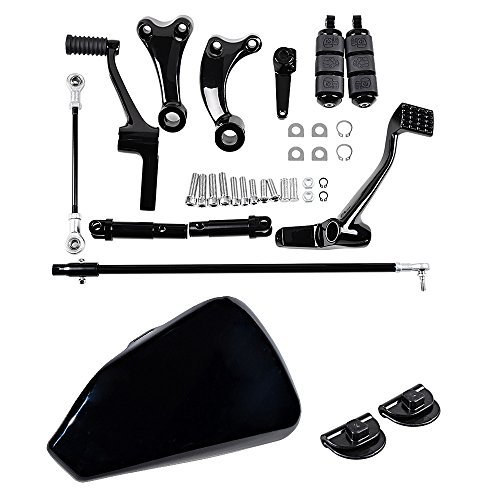 Combo BLACK Forward Controls Complete Kit Peg Levers Linkage + Glossy Left Side Battery Cover for Harley Sportster 2014-2018 by Astra Depot (Image #1)