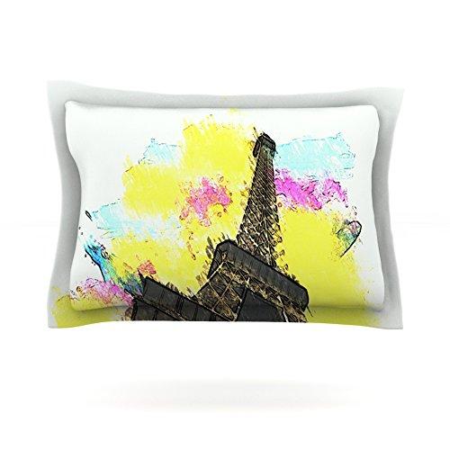 "Kess InHouse Oriana Cordero ""Eifel-Bon Jour"" Yellow Paris 40 by 20-Inch Cotton Sham, King"