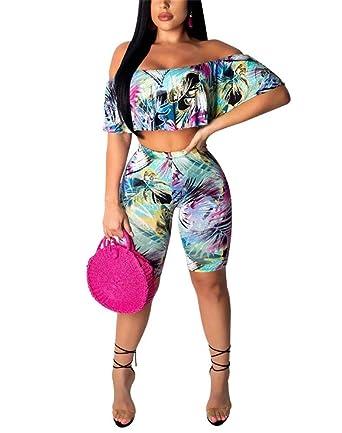15a8588a74b9 Women Floral Print Off Shoulder 2 Piece Outfits Crop Tops and Bodycon Short  Pant Set Jumpsuits