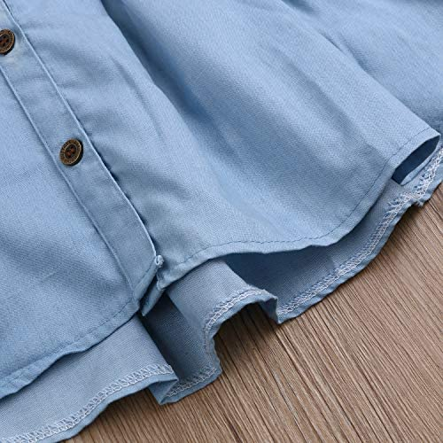 CUTE GIRLS SIZE 5T-6T Ruched front and Lace cuff hem DENIM DRESS Sundress size 6