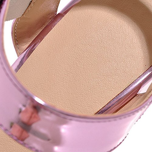 Heels Pink Urethane AdeeSu Peep Buckles Womens Metal Sandals Heeled SLC03672 Chunky Toe EE4P0q1a