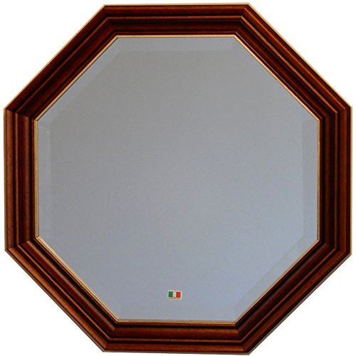 イタリア製 JHAアンティーク風水ミラー シンプル (ブラウンゴールド) 正八角形W477×H477 IE-106 (デラックス:面取り加工)八角ミラー 八角鏡 壁掛け鏡 ウォールミラー B01N6U9Z71ブラウンゴールド