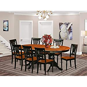 PLAI9-BLK-W 9 PC Dining room set for 8-Dining Table and 8 Chairs for Dining room
