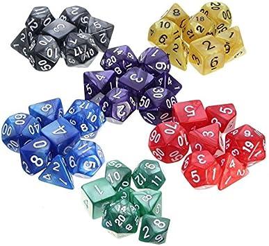 Mishiner 7 Piezas/1 Conjunto de acrílico número de poliedros Juego de Dados Conjunto de Mazmorras y Dragones Partido de Mesa Juego de Colores aleatorios: Amazon.es: Juguetes y juegos
