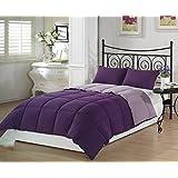 Chezmoi Collection 3-Piece Purple Lilac Super Soft Goose Down Alternative Reversible Comforter Set, Queen/Full Size