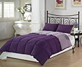 Alternative Comforter - Chezmoi Collection 3-Piece Purple Lilac Super Soft Goose Down Alternative Reversible Comforter Set, Queen/Full Size