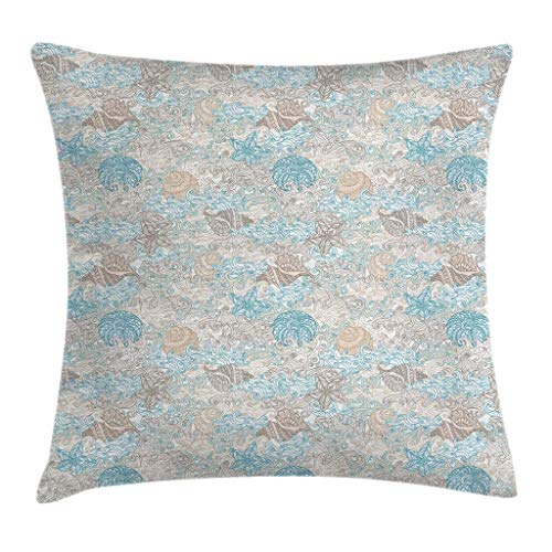 - Ambesonne Nautical Throw Pillow Cushion Cover, Pastel Toned Sea Shell Starfish Mollusk Seahorse Coral Reef Motif Design, Decorative Square Accent Pillow Case, 24 X 24 Inches, Tan Turquoise White