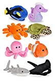 Wildlife Tree Mini Small Stuffed Animals Bundle of Ocean Animal Toys or Under The Sea Party Favors for Kids (Pack of 8)