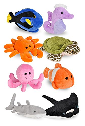 Wildlife Tree Mini Small Stuffed Animals Bundle of Ocean Animal Toys or Under The Sea Party Favors for Kids (Pack of 8) by Wildlife Tree