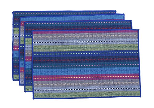 WOOD MEETS COLOR Cotton Table Placemats Woven Braided Ribbed Washable Table Mats Set of 4, 12″ x 18″ (Blue)