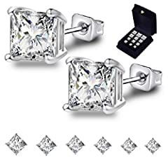 Princess Cut Cubic Zirconia Stud Earrings. Features: ●Princess Cut Square Cubic Zirconia●316L Stainless Steel●18K White Gold Plated ●4 Prongs Mounting ●Black Velvet Jewelry Box Comfortable Choice 10 mm 316 stainless steel needle, perfect leng...