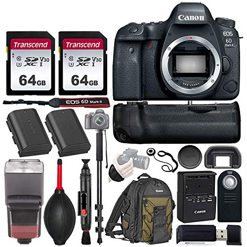 "Canon EOS 6D Mark II Wi-Fi DSLR Camera Body - with Pro Battery Grip, TTL Flash, Canon Backpack,128GB Memory, Replacement Battery for LP-E6N, 72"" Monopod, RC-6 Wireless Remote, and more..(19 Items)"