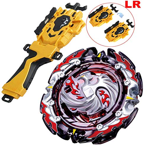 (HNY [B-131 Launcher LR & Grip Set] Bey Battling Tops Blade Burst B-131 Booster Dead Phoenix.0.at Battling Top Set + Golden B-119 Bey Launcher LR + Grip Spinning Tops)