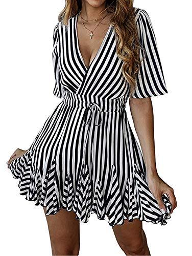 SHIBEVER Summer Sexy Mini Wrap Dresses for Women V Neck Beach Casual Striped Polka Dot Ruffle Hem Pleated Boho Sun Dress Black ()