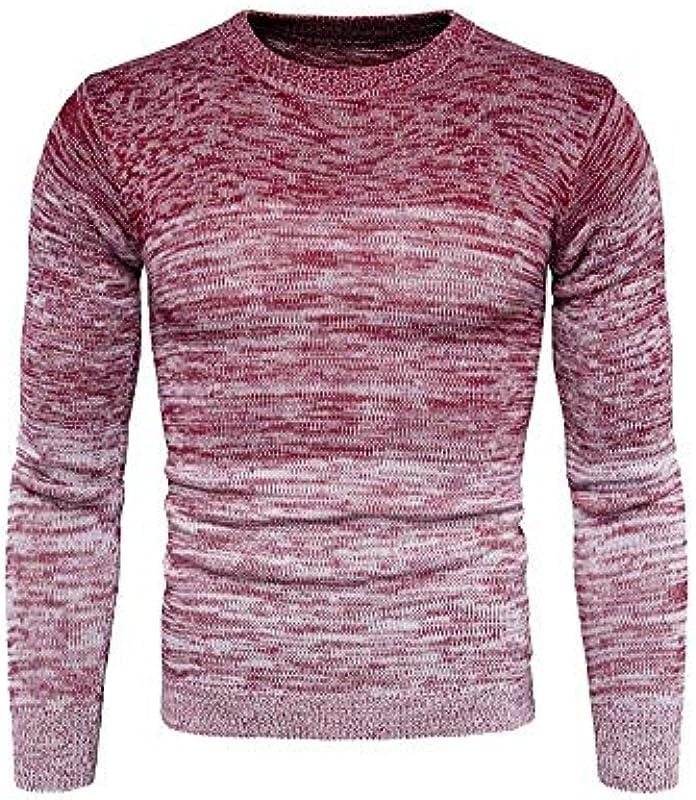 Męski okrągły dekolt paski sweter ciepły gruby bluza jesień zima wygodny rozmiar długi rękaw sweter dziergany sweter ubranie: Odzież