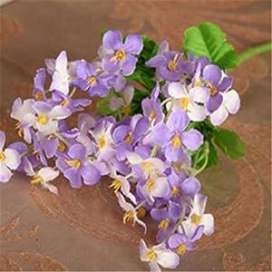 1Pc 18 Head Artificial Mini Primrose Flowers Simulation Bouquet Fake Flower Arrangements for Home Wedding Decoration (Purple) 83