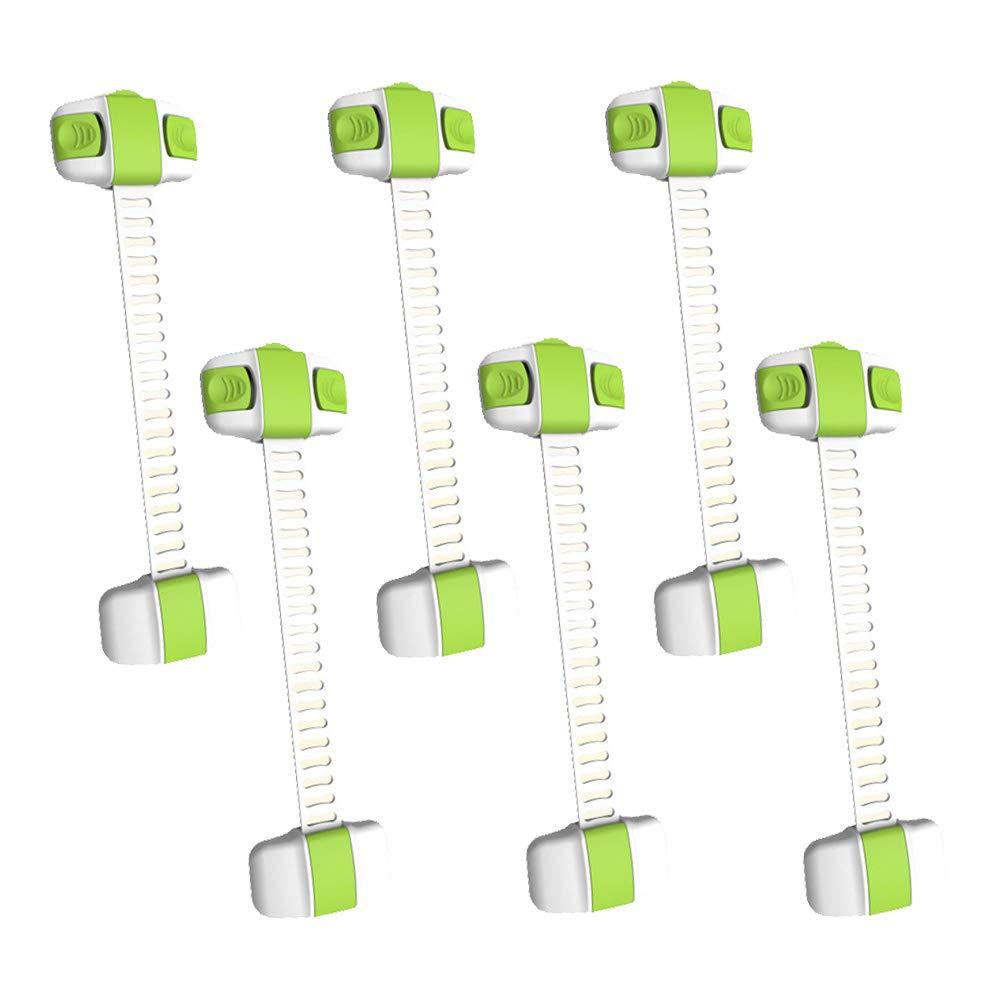 Azul MINGZE 6 Pieza Cerraduras de Seguridad para Ni/ños Extra Fuerte 3 M Adhesivo Bloqueo de Seguridad Cajones Bebe Cierres para Armarios Nevera Cocinas Puertas Inodoros Ventanas Refrigerador WC