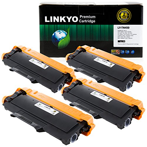 4-Pack LINKYO Replacement for Brother TN450 TN-450 Toner Cartridge (Black, High (Tn450 Laser Toner)