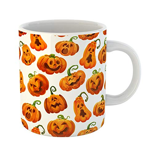 Emvency Coffee Tea Mug Gift 11 Ounces Funny Ceramic Halloween Pumpkin Monster for October Holiday Orange Jack O Lantern Autumn Gifts For Family Friends Coworkers Boss -