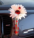 VW Beetle Flower - White and Red Bling Daisy with Universal Vase