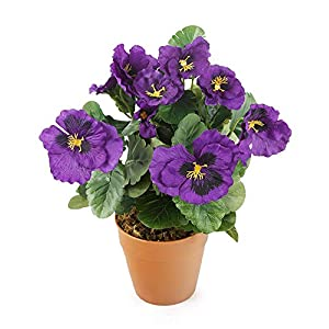 MARJON FlowersArtificial 30cm Purple Pansy Plug Plant - Pot Not Included 13