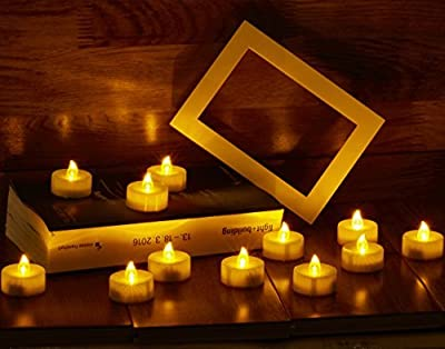 Waynewon Led Flameless Tealight Candles - Battery Operated Electric Tea Light with Flickering Flame, Warm Amber Glow