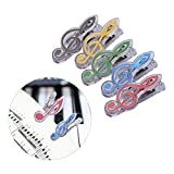 CUSHY 5pcs Book Clip Guitar Piano Book Page Clip Eighth Note Clips Bookmarks
