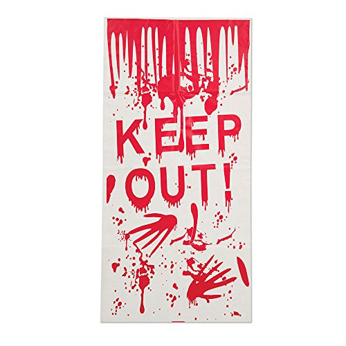 Bristol Novelty HI352 Keep Out Halloween Door Cover, White/Red, One Size